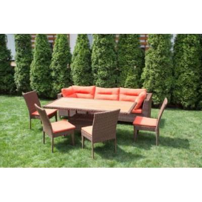 Композиция плетеной мебели МАТЕРА-2+КРИТ стол+КРИТ 4 стула жгут 30703 ТЕРРАСА Люкс с подушками