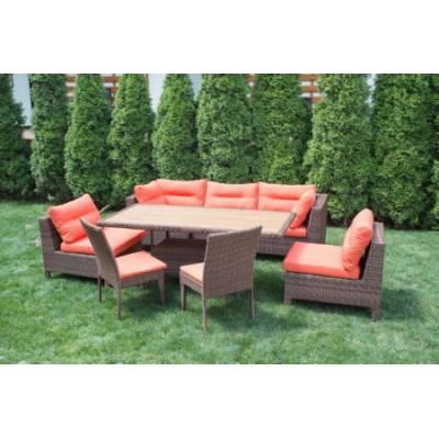 Композиция плетеной мебели МАТЕРА-2+КРИТ стол+КРИТ 2 стула жгут 30703 ТЕРРАСА Люкс с подушками
