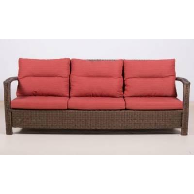 Плетеный диван 3-х местный ВЕНЕЦИЯ жгут 8251 ТЕРРАСА Люкс с подушками ткань М9002