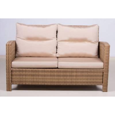 Плетеный диван 2-х местный ВЕНЕЦИЯ-2 жгут 30296 ТЕРРАСА Люкс Закрытые подлокотники с подушками