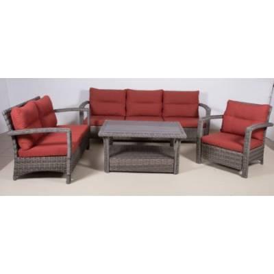 Комплект плетеной мебели ВЕНЕЦИЯ жгут 7262/7425 ТЕРРАСА Люкс с подушками ткань М9002