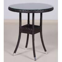 Стол со стеклом круглый КРЫМ жгут 30834 ТЕРРАСА Люкс D-65 см