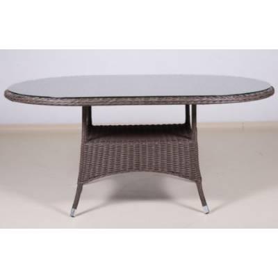 Стол плетеный КРИТ овальный со стеклом жгут 30832-1 ТЕРРАСА Люкс 170х100 см