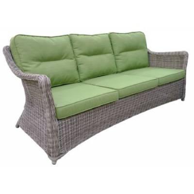 Плетеный диван низкий 3-х местный КОРФУ жгут 9677 ТЕРРАСА Люкс с подушками