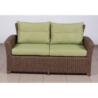 Плетеный диван САН-МАРИНО 2-х местный жгут 30832-1 ТЕРРАСА Люкс с подушками ткань М9003