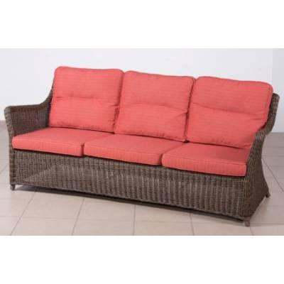 Плетеный диван низкий 3-х местный КОРФУ лаунж жгут 30832-1кр ТЕРРАСА Люкс с подушками