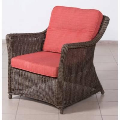 Кресло КОРФУ лаунж жгут 30832-1кр ТЕРРАСА Люкс с подушками ткань М9002