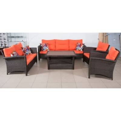 Комплект плетеной мебели ВЕНЕЦИЯ-2 жгут 30834 из искусственного ротанга ТЕРРАСА Люкс с подушками