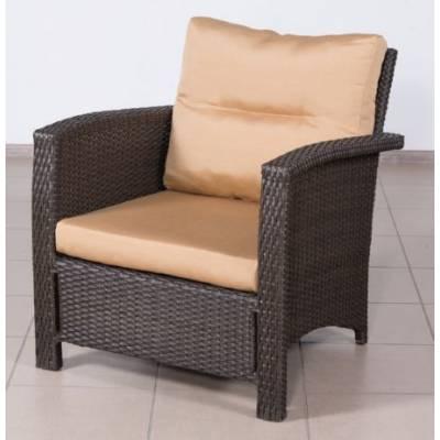 Плетеное кресло ВЕНЕЦИЯ-2 жгут 30834 ТЕРРАСА Люкс с подушками ткань 14203