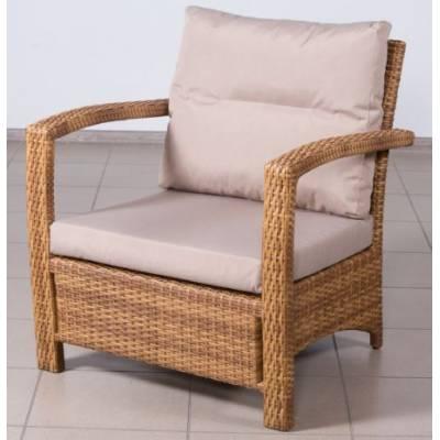 Плетеное кресло ВЕНЕЦИЯ жгут 31476-15 ТЕРРАСА Люкс с подушками ткань М9306