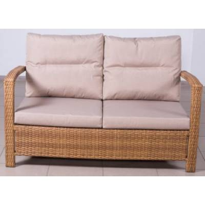Плетеный диван ВЕНЕЦИЯ 2-х местный жгут 31476-15 ТЕРРАСА Люкс с подушками ткань М9306