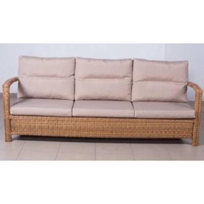Плетеный диван 3-х местный ВЕНЕЦИЯ жгут 31476-15 ТЕРРАСА Люкс с подушками ткань М9306