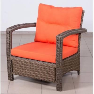 Плетеное кресло ВЕНЕЦИЯ жгут 30806/30832-1 ТЕРРАСА Люкс с подушками ткань 14803
