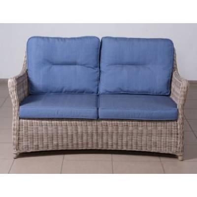 Плетеный диван низкий 2-х местный КОРФУ лаунж жгут 9677 ТЕРРАСА Люкс ткань 17807