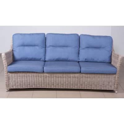 Плетеный диван низкий 3-х местный КОРФУ лаунж жгут 9677 ТЕРРАСА Люкс с подушками ткань 17807