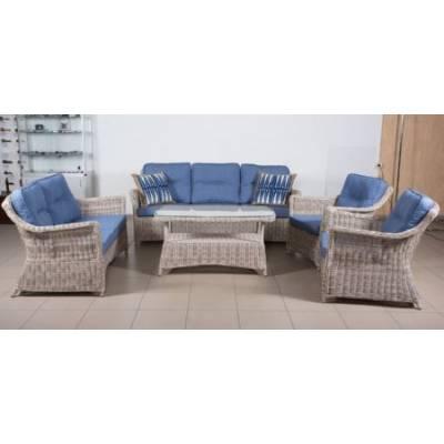 Комплект плетеной мебели КОРФУ лаунж жгут 9677 ТЕРРАСА Люкс с подушками ткань 17807