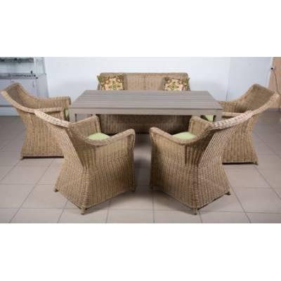 Комплект плетеной мебели КОРФУ жгут 31614 ТЕРРАСА Люкс с подушками ткань М9003