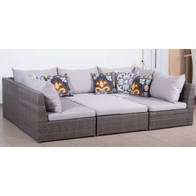 Модульный диван ИБИЦА 6 мест жгут 7412 ТЕРРАСА Люкс с подушками ткань 13806