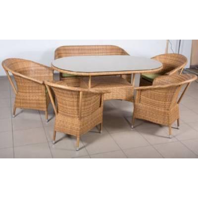 Комплект плетеной мебели РИО жгут 31476-15 ТЕРРАСА Люкс с подушками ткань 14805