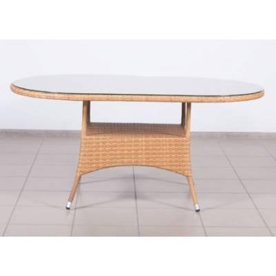Стол плетеный КРИТ овальный со стеклом жгут 31476-15 ТЕРРАСА Люкс 170х100 см