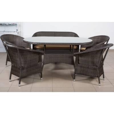 Комплект плетеной мебели РИО жгут 30834 ТЕРРАСА Люкс с подушками ткань 14203