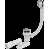 A504KM-80 Сифон для ванны комплект click/clack металл/металл (длина 80 cм)
