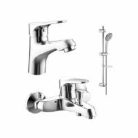 ECO промонабор 3 в 1: 7F1111147C+ 7F6111147C-B+ 7D141C смеситель для раковины, смеситель для ванны, душевая штанга