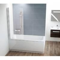 Шторка для ванны CVS1-80 левая белый+стекло Transparent